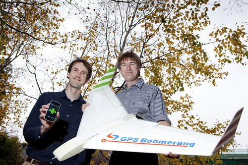 UC CEISMIC Office Manager Chris Thomson with Synco Reynders and the SmartBird UAV
