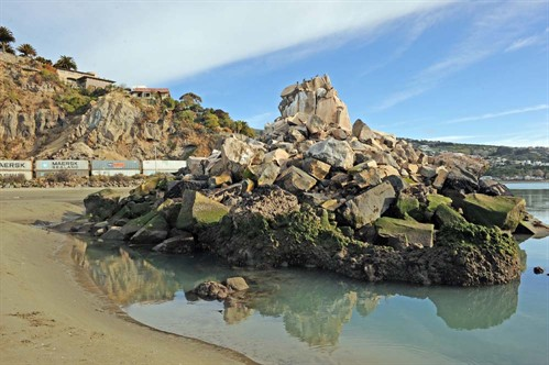 A photograph of the collapsed shag rock in Sumner