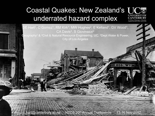 A slide from a presentation by Deirdre Hart on the Coastal Quakes project