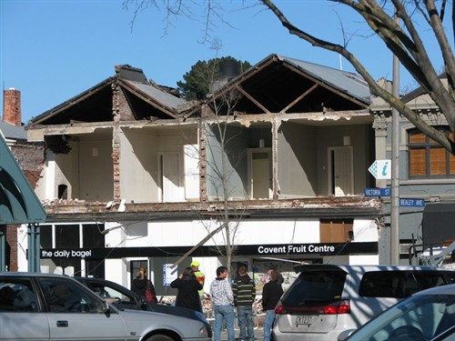 Damaged buildings on Victoria Street