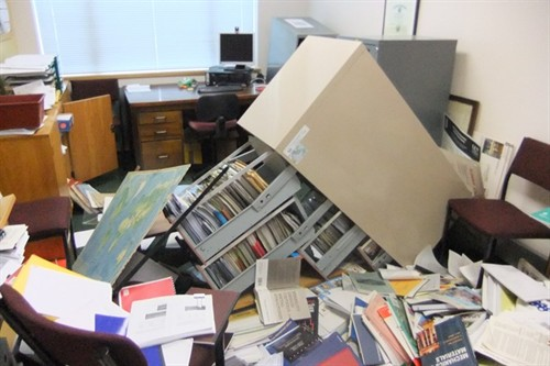 Toppled filing cabinet