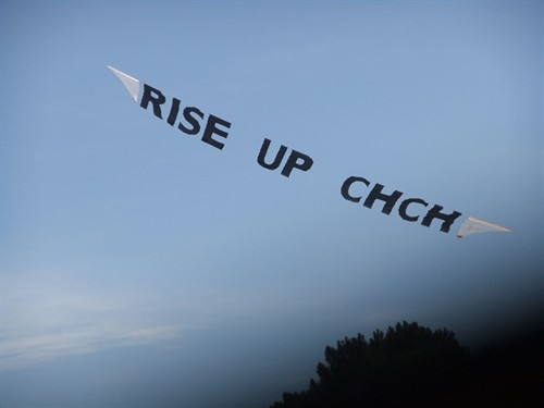 """Rise Up Christchurch"" banner"
